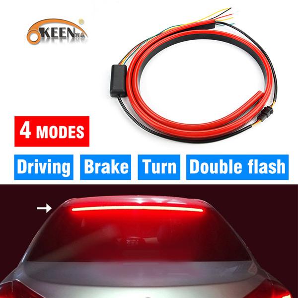 Toptan 12 V Kırmızı Esnek LED Şerit Araba Yüksek Fren Işık Araba Ek Fren lambaları Dur Işıklar Arka Pencere Uyarı Sinyal Lambası