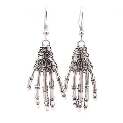 Punk Vintage Squelette fantôme main Boucle d'oreille en crâne d'araignée main de Fatima Boucles d'oreilles pendantes pour les femmes Halloween Party bijoux cadeau pour les femmes