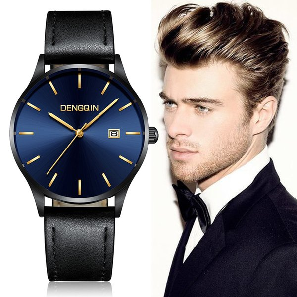 Men's Casua Stainless Steel Case Leather Band Quartz Analog Date Wrist Watch Men's Watch 819 Belt