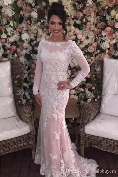 Sirena de manga larga de encaje musulmán vestidos de novia africano vestido de novia Vintage vestido de boda de playa barato vestidos de novia 2019