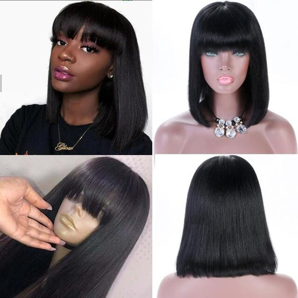 Celebrity Wig Lace Front Wig with Bang Long Bob Cut 10A Chinese Human Hair Full Lace Wigs for Black Women Fast Free Shipping