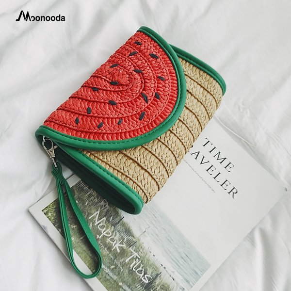Moonooda 2018 New Pouch Women's Bag Korean Watermelon Hand-woven Small Straw Clutch Bag Lady's Wallet Purse Day Clutches Handbag #267095