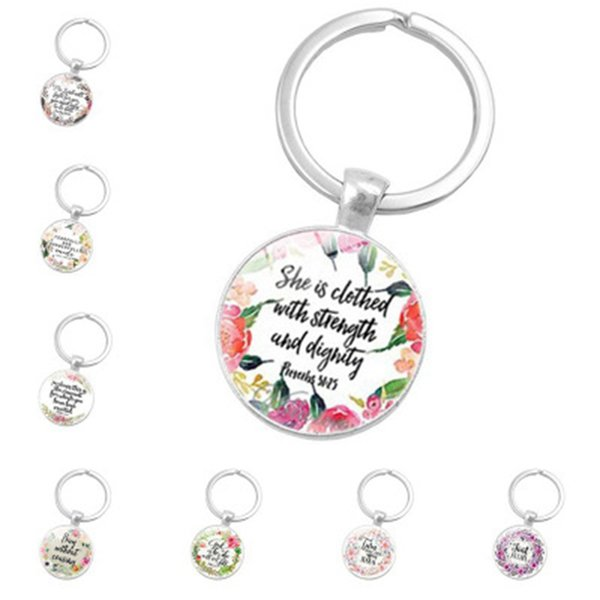 best selling 18 Styles Fashion Biblical Texts Keychains Round Glass Dome Keyrings Metal Creative Key Chain For Outdoor Travel Souvenirs ZZA1105