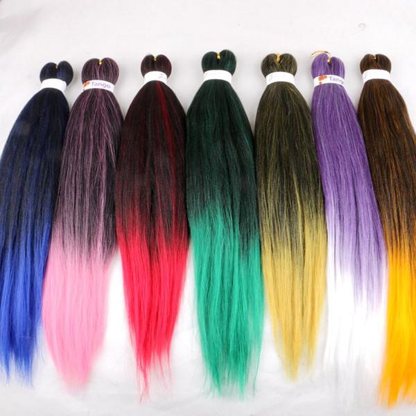 Pre estirado Trenzas Sintéticas Trenzas EZ Trenzas Permanente Yaki 26 Pulgadas Crochet Twist Trenzas Color Ombre