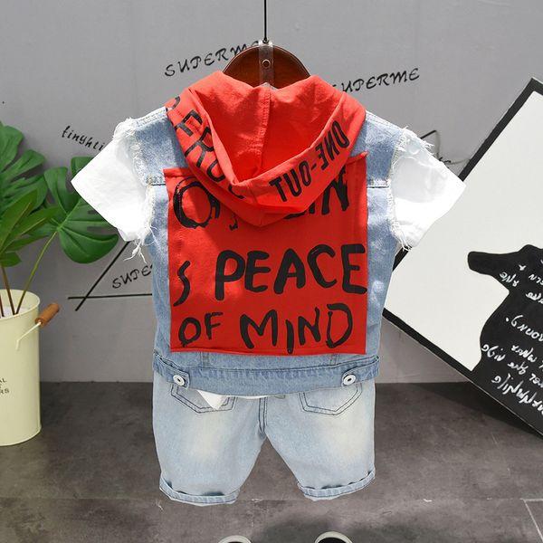 Summer fashion boys clothes Denim jacket+Denim shorts+t-shirt 3 pcs set patchwork letter hooded casual set z11