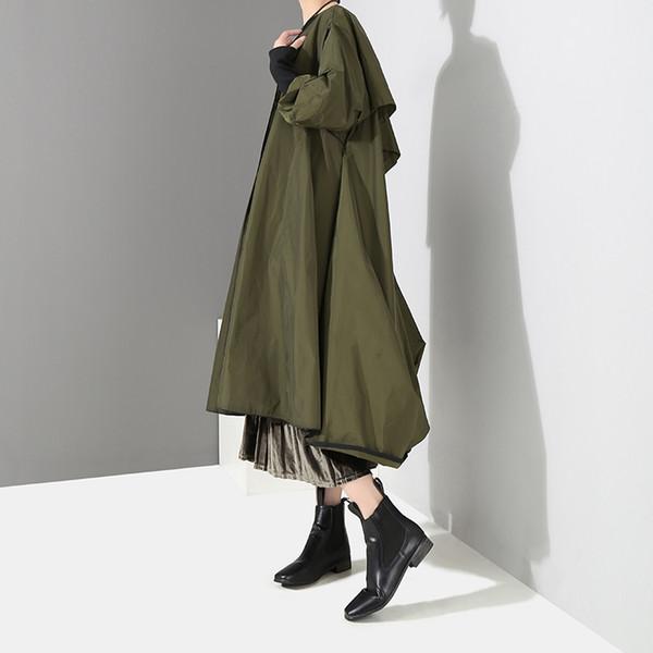 Koreanischen Stil solide grün schwarz Frauen Winter langen Trenchcoat offenen Stich plus Größe weiblichen Casual Windbreaker Oberbekleidung