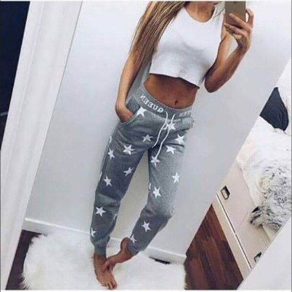 * Pantaloni solidi Capris Tuta Rosa / grigio Pantaloni larghi Donna stampato Stella Casual Pantaloni lunghi Moda Pantaloni sportivi 2019 *