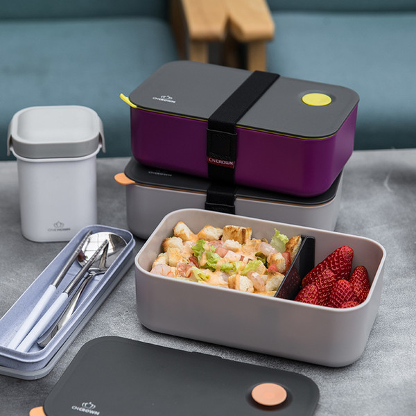 top popular Natural Bamboo Fiber Material Lunch Box Japanese Style Leak-proof Bento Box Student Office Afternoon Tea Dessert Food Container T200429 2021