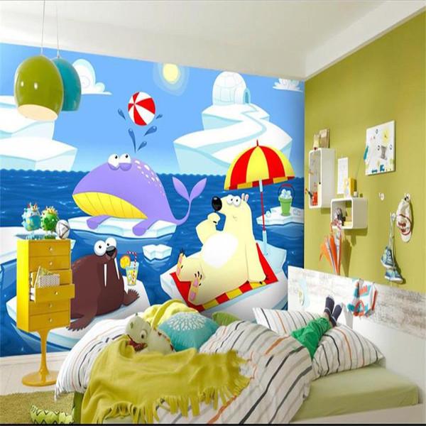 Tamaño personalizado 3d foto papel tapiz mural salón Arctic Cartoon Animal World imagen de los niños sofá TV telón de fondo papel tapiz no tejido etiqueta de la pared
