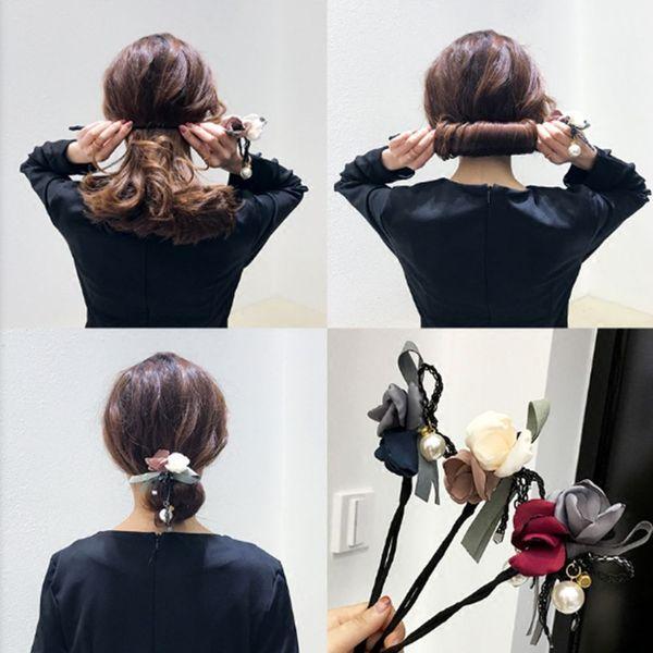 1PC Women Flower Donuts Twist Headband Magic Bun Maker Girl DIY Hairstyle Tool Sweet Girls Floral Hair Accessories Hairband Drop
