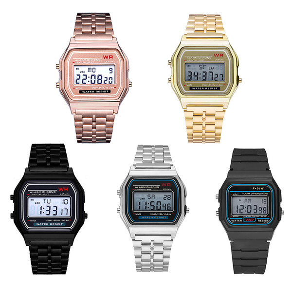 best selling Multifunction WR F91W F-91W Fashion Ultra-thin Watches metal watchband LED Change Watch Sport A159W Men Women Sport Watches Watch