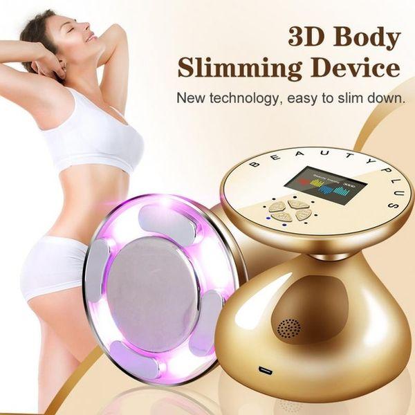 RF LED بالموجات فوق الصوتية الجسم التخسيس مدلك رفع الجلد تجديد الدهون الموقد إزالة مكافحة السيلوليت التخسيس أداة تشديد.