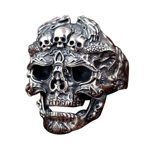 Retro domineering rock locomotive men's index finger hipster leader hand jewelry dragon double dragon skull ring