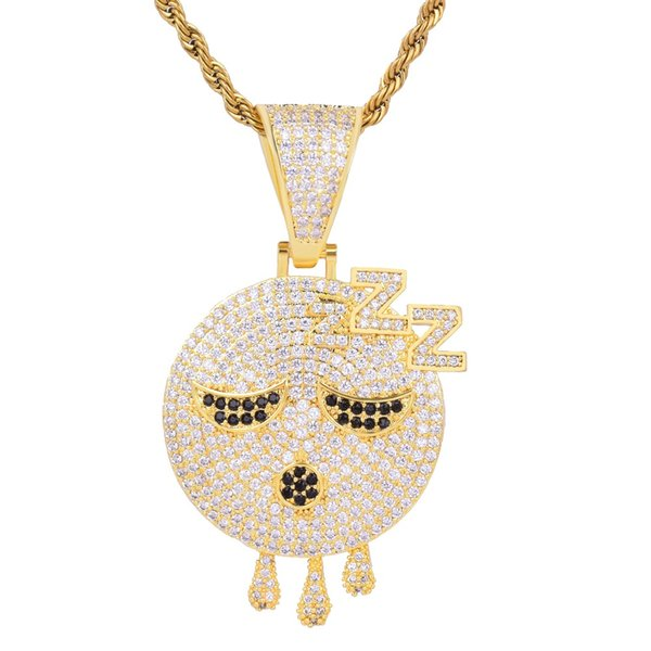 Hip Hop Gold Silver Sleeping Emoji Dripping Face Pendant Necklace With Rope Chain Cubic Zircon Men Rock Jewelry