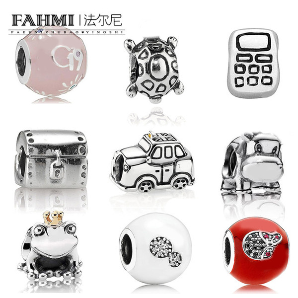 FAHMI 100% 925 Sterling Silver New Turtle Mobile Cell Phone Cow Frog Prince Cab Taxi Hope Charm Beaded Fit DIY Bracelet
