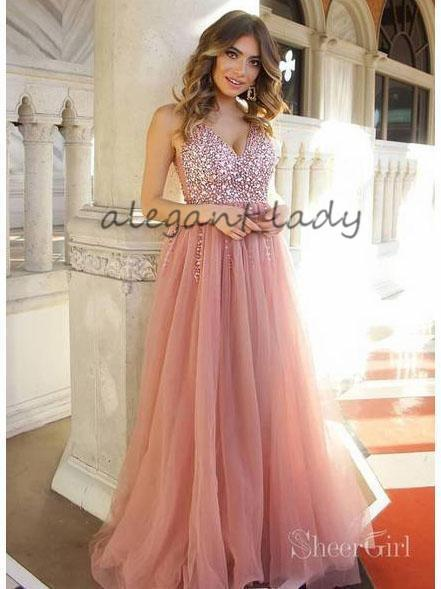 1bab4cf81d7 Dusty Rose Long Tulle Prom Dresses 2019 Shiny Bodice V Neck Sparkly Crystal  Blush junior princess Party Evening Wear Gowns Dress