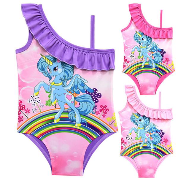 3 Colors Unicorn Rainbow Printed kids swimwear 3-10t Baby Girls one piece swimsuit Girls designer swimwear bikini DHL SS141