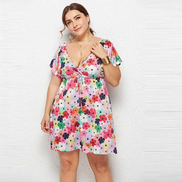 4XL Plus Size Women Ladies Boho Summer Beach Dress Short Sleeve Floral Mini  Dress Female High Waist V Neck Tunic Dress Casual Purple Dresses For ...