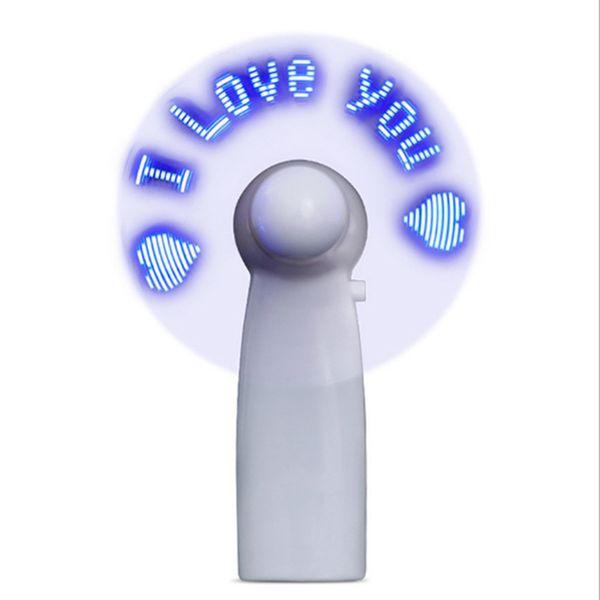 Mini USB Handheld Fan Гибкий светодиодный мигающий вентилятор со светодиодной подсветкой Настольный охлаждающий вентилятор с символами Сообщения «Я тебя люблю»