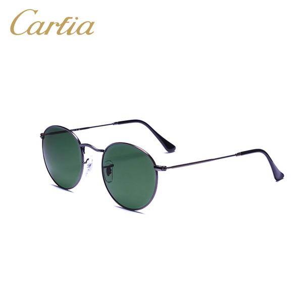 2017 vintage sunglasses women metal round new arrival sunglasses brands 50mm black gradient lense oculos glasses men sun glasses with case