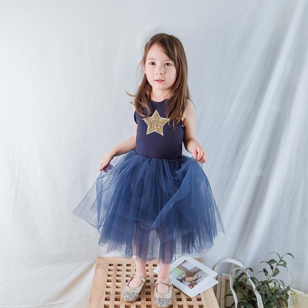 Summer Brand Kids Dresses For Girls Casual Wear Bling Star Girl Dress Children Boutique Clothing Tutu Baby Girls Clothes