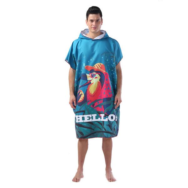 Animal style Microfiber Hooded Beach Bath Towel Outdoor Adult Poncho Bathrobe Towels Women Man Bathrobe 110*88cm