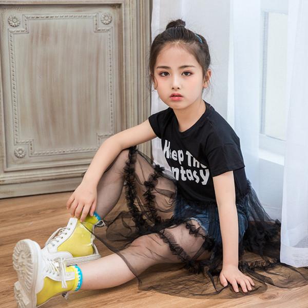 Niñas vestidos niños carta impresa manga corta niños algodón camiseta empalme encaje transparente tul vestido niños ropa F7326