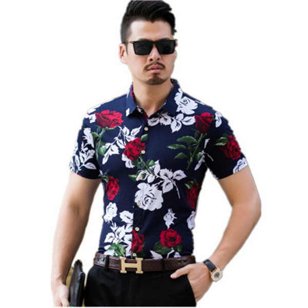 Mens Shirts Brands Clothing Floral Slim Fit Men Short Sleeve Turn-Down Collor Casual Shirt Male M-3XL