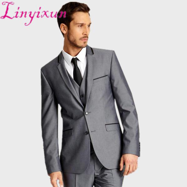 Linyixun rajes de hombres Three Piece Grey traje de hombre delgado smoking chaqueta para hombre traje gris con terno masculino negro