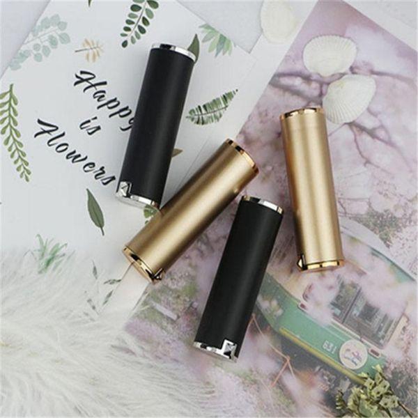 Tubos de lápiz labial dorado Color negro Tubo lipbalm vacío DIY envase cosmético 12.1mm envío rápido 2019012204