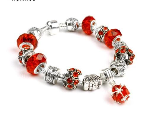 2017 Pandora Style Charm bracelets 925 Silver Murano Glass Beads Red Crystal European Charm Beads For Charm bracelets Bangles DIY Jewelry