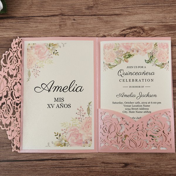 Pink Laser Cut Floral Invitation Cards For Wedding Party Quinceanera Anniversary Birthday Cw0008 Birthday Cards Birthday Cards For Free From