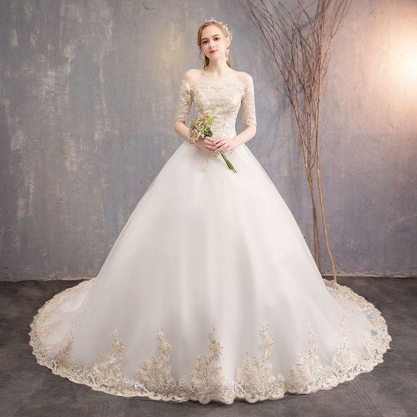 2019 New Fashion White Design Wedding Dress Bride Dream Princess Long Tail Slender Shoulder Court Size