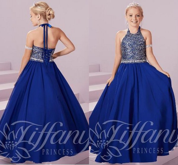 Blue Crystal Girls Pageant Dresses Backless Floor Length Major Beading Flower Girl Dress Child Birthday Party Gowns Kids Cosplay Wear 2019