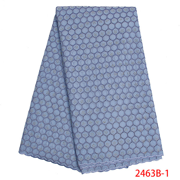 Latest African Lace Fabric with Stones Swiss Voile Lace High Quality 2019 Nigerian Cotton Lace Fabrics for Women Dress APW2463B