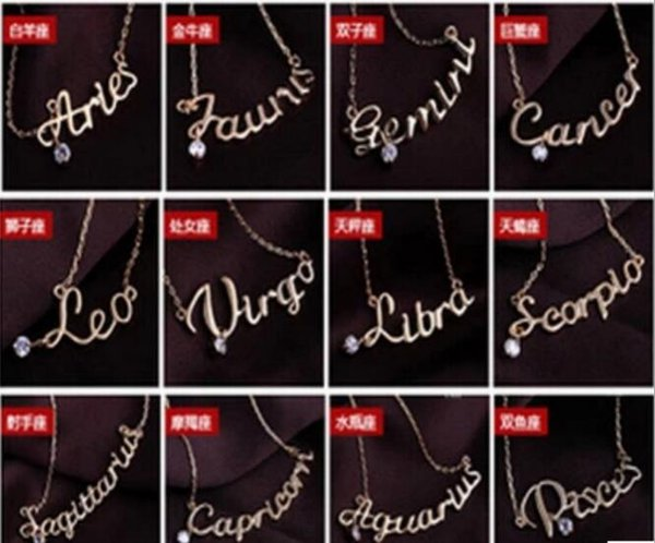 Fashion Jewelry 12 Zodiac Signs Letter Pendants Necklace Womens Ladies Chokers Sweater Chain Vintage Twelve Constellations Letter -p