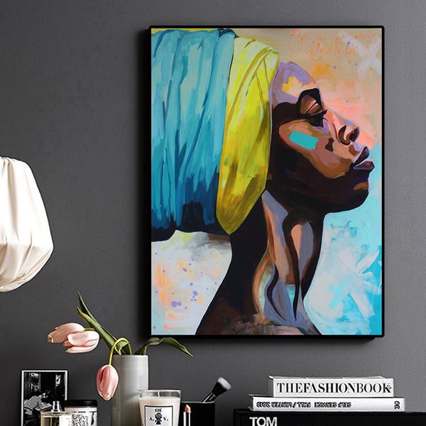 1 Pz Contemplator African American Portrait Pittura a olio Poster su tela e stampe Immagine della parete di arte scandinava per soggiorno No Frame