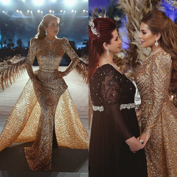 Luxury Gold Mermaid Prom Dresses 2019 V Neck Sequined Long Sleeve Evening Gowns With Detachable Train Said Mhamad Cocktail Party Dresses
