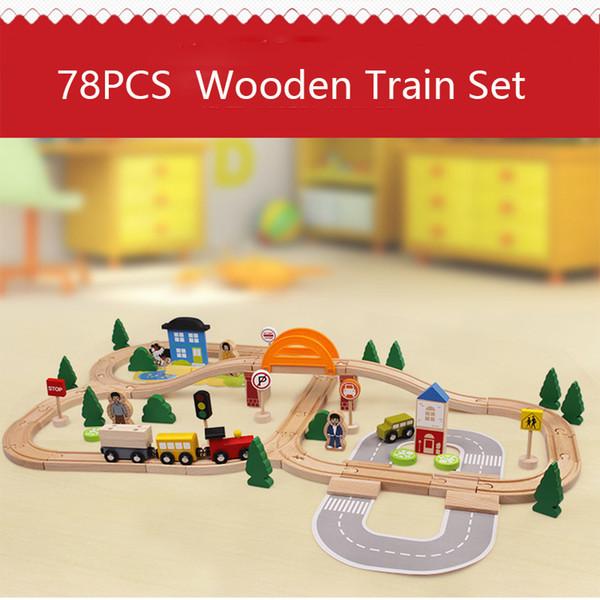 78 PCS Trafic En Bois Piste De Train Magnétique Modèle De Voiture Slot Puzzles En Bois Chemin De Fer Jouet Éducatif Pour Enfants Et Amis SH190910