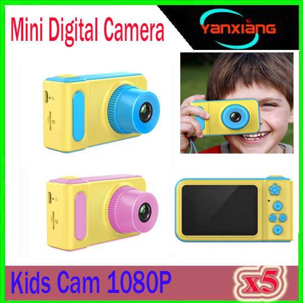 Kebidu mini digital camera 2 inch cartoon cute camera toy children birthday gift 1080p toddler toy camera 5pc zy et 1