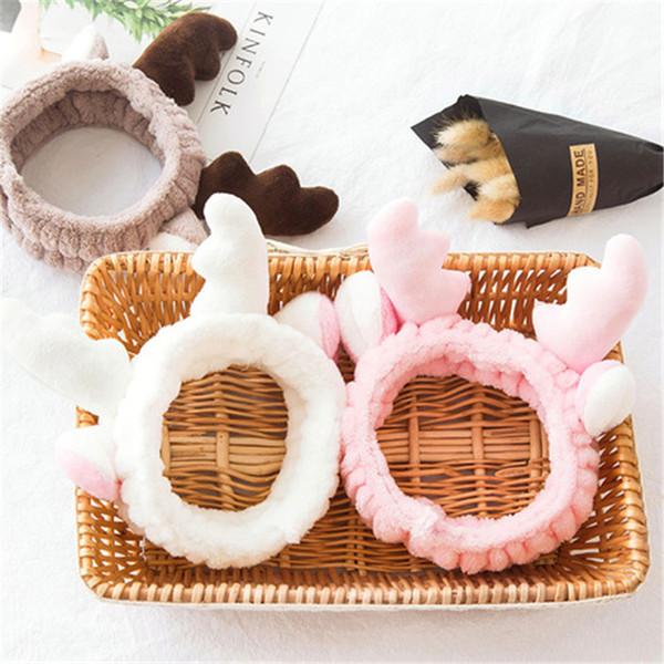 Elástico Casual para ducha Coral Fleece Elk Antler Broche para el cabello Maquillaje Diadema Máscara Herramienta Baño Encantador Maquillaje Lindo Lavado Cara EFJ656