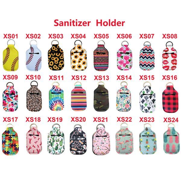 top popular Neoprene Hand Sanitizer Bottle Holder Keychain Bags 30ML 10.3*6cm Key Rings Hand soap Bottle Holder 24 Colors 2021