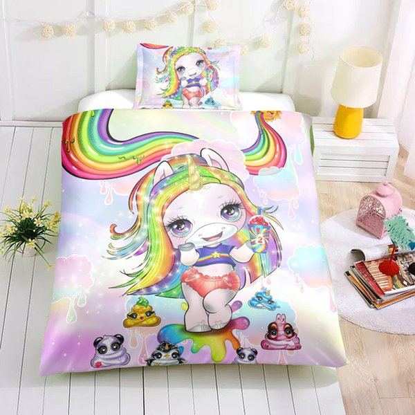 Thumbedding Poopsie Slime Surprise Bedding Set 3D Hot Sale Kids Adult Cartoon Duvet Cover Set With Pillowcases Floral Bed Set 3pcs