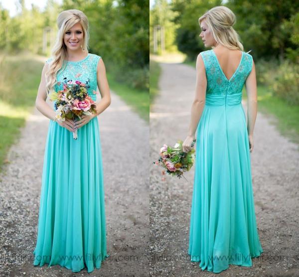 Compre Vestidos De Dama De Honor Color Turquesa Cuello De Joya Transparente Top De Encaje Gasa Damas De Honor De País Largo Vestidos De Dama De Honor