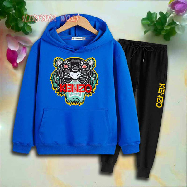 KZ Childrens Sport Sets Kids Sets 2-7T Kids Hoodies Pants 2Pcs/sets Boys And Girls 95% Cotton Tiger Printing Style Spring suits