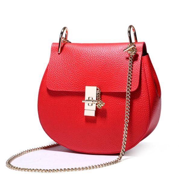 new genuine leather saddle bag women shoulder crossbody bag brand designer luxury popular chain handbags