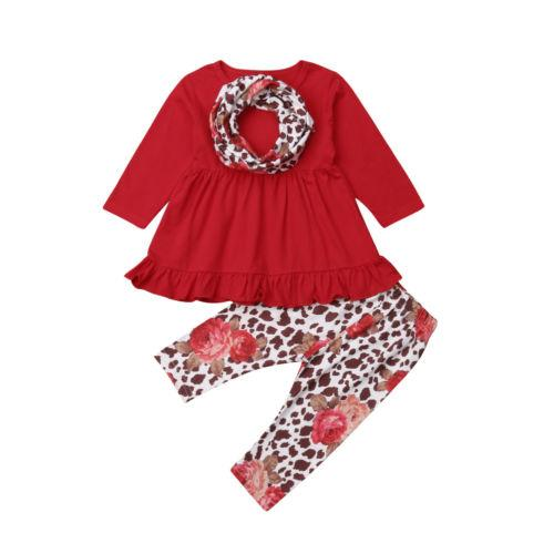 3PCS Stock Toddler Baby Girls Clothes Ruffle T Shirt Pants Legging +Scarf Outfits Lovely Children Girls Costume