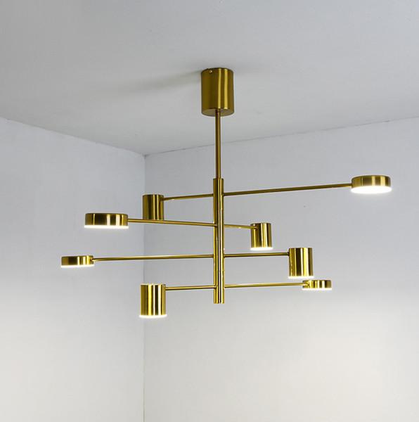 Modern style black gold branches design LED pendant light fixture metal chandelier Geometric art hanging lamp for dinning living room