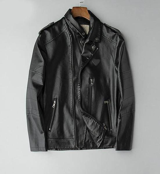 2019 Mode Nouveaux Hommes Designer En Cuir Vestes Haute Qualité De Luxe Lapel Cou Zipper Rivet En Cuir Veste Taille M-3XL