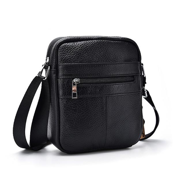 Натуральная телячья кожа мужчины деловая сумка на молнии дизайн твердые сумки че